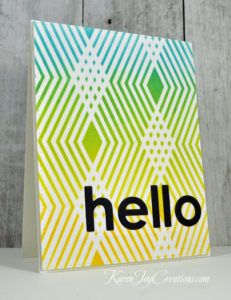 Handmade Hello Card with Hero Arts Diamond Stencil and My Favorite Things Happy Hellos