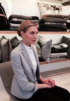 Brooke Banker wearing Rani Arabella's double faced cashmere blazer from the Holiday 2014-2015 Collection.