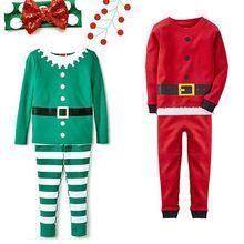 1-7Y Christmas Santa Claus Boy Girl Striped Nightwear Xmas Outfits Pajamas Set Kids Clothes Sets(China (Mainland))