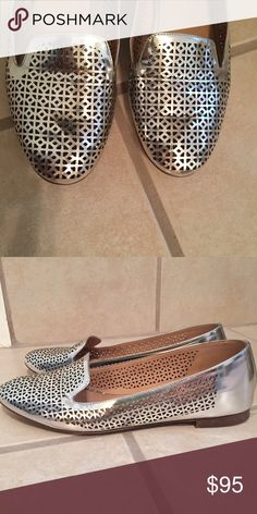 J. Crew Loafers Silver Metallic Flats, minimal use, good condition J. Crew Shoes Flats & Loafers
