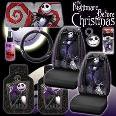 New 9 Pieces Disney Nightmare Before Christmas Jack Skellington Graveyard Car Auto Accessories Interior Combo Kit Gift Set