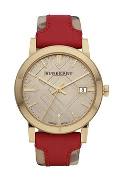 Burberry Timepieces 'Large' Stamped Leather Strap Watch available at Nordstrom...Diggin the face