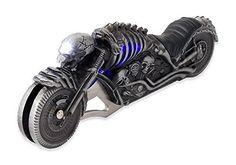 Vulcan Gear Devil's Skeleton Chopper Motorcycle Metal Handle Folding Knife with real Head light.