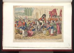 14 September 1812:Bodleian Libraries, See the conquering hero comes,sound your trumpets beat your drums-None but the brave deserve the fair, Wellington's we.Satire on the Peninsular war.(British political cartoon);Spanish civilians greet Wellington on his arrival in Madrid. In the background the French flee the city,Joseph Bonaparte's crown falling from his head.;Attribution from BMC.