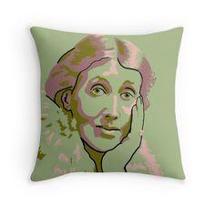 Virginia Woolf green throw pillow by savantdesigns