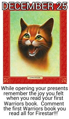 DECEMBER 25!!!! MERRY CHRISTMAS MY FELLOW WARRIORS FANGIRLS!!!!!! :D MAY STARCLAN LIGHT ALL OF YOUR PATHS!!!!