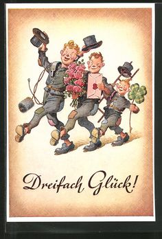 Alte Ansichtskarte: AK Dreifach Glück!, Lustige Schornsteinfeger