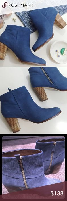 Cole Haan blue suede booties - size 9.5 b On trend dark blue suede booties with Nike air.  Super comfortable -- great look with skinny jean or skirt and tight.  Navy is the new neutral! Worn only a handful of times--great shoe! Cole Haan Shoes Ankle Boots & Booties