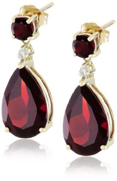 Gold, Garnet, and Diamond Drop Earrings