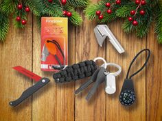 Every day carry items: firesteel, key ring screwdrivers, mini compass, millitary can opener, emergency rope (bracelet, key fob), key ring pill box, emergency saw. Also, emergency car items. All good stocking stuffers for men.
