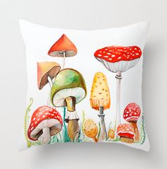 Mushrooms pillow cover print from original by sublimecolors