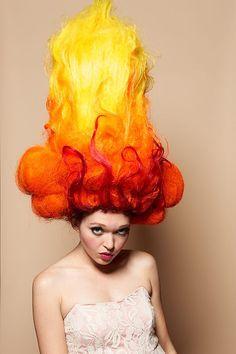 The Flame Macaroni Dandy Style wig heat miser Fire Costume, Drag Wigs, Wacky Hair, Avant Garde Hair, Dandy Style, Crazy Hair Days, High Fashion Makeup, Fantasy Hair, Fantasy Makeup