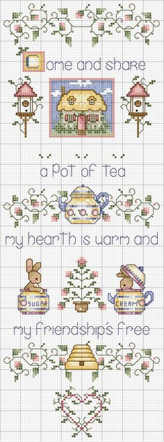 Sticken Kreuzstich - cross stitch - free pattern - Schema punto croce Pot Of Tea Cross Stitch Samplers, Cross Stitch Charts, Cross Stitch Designs, Cross Stitching, Cross Stitch Embroidery, Embroidery Patterns, Cross Stitch Patterns, Cross Stitch Kitchen, Le Point