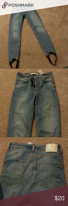 ZARA stirrup  jeggings Distressed and faded look. Zara Jeans