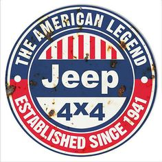 Jeep 4x4 American Legend Vintage Looking Garage Shop Man Cave Metal Sign. 14x14 Round 24g Steel. This Sign Has Eyelets For Mounting. Made In The USA.