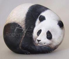 Roberto Rizzo Panda painted rock