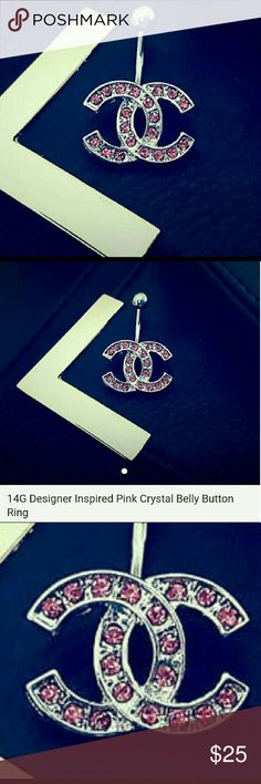 BEAUTIFUL BELLY BUTTON RING! Adorable excellent quality pink stainless steel 14g CC INSPIRED belly button ring! Soooooo cute! chanel  Jewelry