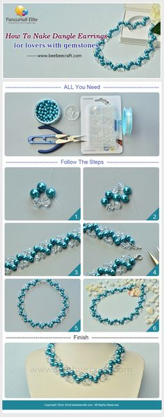 #Beebeecraft tutorials on How to make blue #pearl and white faceted #glassbeads #necklace