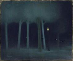 Un parc la nuit (A park at night), Pastel. by Jozsef Rippl-Ronai Nocturne, Moonlight Painting, Gustave Courbet, Paint Photography, Tumblr, Art Graphique, Artwork, Northern Lights, Paintings