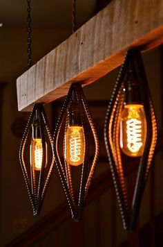 Rustic Industrial Barn Wood Light Fixture made from reclaimed barn wood and rebar. Features vintage style Edison bulbs (included) and cloth covered twisted wire. Comes standard with power cable. Light is x x wide. Here Buy Now Rustic Lighting, Unique Lighting, Lighting Design, Pendant Lighting, Edison Lighting, Bar Lighting, Kitchen Lighting, Industrial Light Fixtures, Rustic Industrial