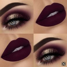 Glitter Eyes + Dark, Matte Lips Eye make up 43 Glitzy NYE Makeup Ideas Eye Makeup Tips, Makeup Hacks, Makeup Inspo, Eyeshadow Makeup, Makeup Brushes, Dark Eyeshadow, Makeup Trends, Eyeshadow Tips, Makeup Remover