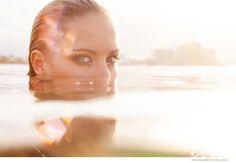 Model in underwater photoshoot with lens flare | Love and Water Photography www.lovewaterphoto.com