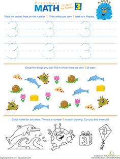 all numbers worksheet | Preschool Math: All About the Number 3 | Worksheet | Education.com