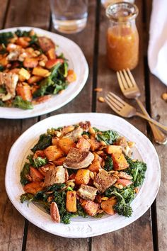 Crispy Kale Roasted Autumn Salad with Brie Grilled Cheese Croutons - Half Baked Harvest Vegetarian Dinners, Vegetarian Recipes, Healthy Recipes, Healthy Eats, Free Recipes, Winter Salad, Half Baked Harvest, Vegetable Salad, Grilling Recipes