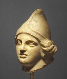 Head of an Amazon. Date: late 5th century B.C. Culture: Greek (Argive?). Place Created: Argos (?), Greece, Europe Goddess Warrior, Warrior Women, Roman Sculpture, Getty Museum, Roman Art, Minoan, Greek Art, Ancient Greece, Ancient Art