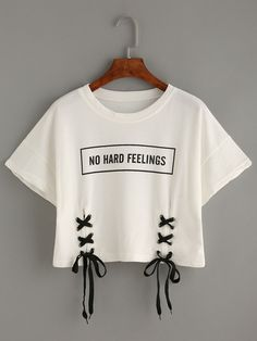 Shop White Letter Print Lace-Up Crop T-shirt online. SheIn offers White Letter Print Lace-Up Crop T-shirt & more to fit your fashionable needs.