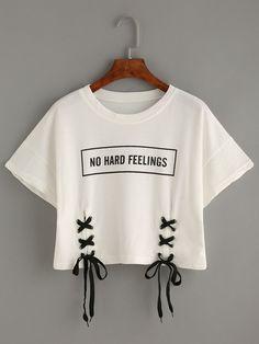 Camiseta estampado letras con cordón -blanco