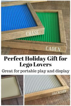 kid loves to get personalized gifts! These personalized Lego trays are perfect for portable play, to display finished creations or to use in mini figure displays. Get yours today! Christmas Gifts For Cousins, Gifts For Boys, Holiday Gifts, Personalized Christmas Gifts, Diy Kid Gifts, Personalised Childrens Gifts, Personalized Gifts For Men, Homemade Christmas, Christmas Diy