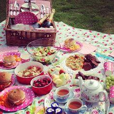 Polka dot picnic in back garden.