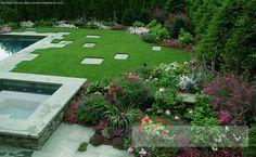 inset stones, vibrant flowers Stone Bench, Perennials, Stepping Stones, Sidewalk, Vibrant, Yard Ideas, Outdoor Decor, Flowers, Plants