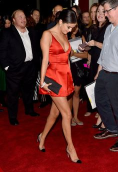 2 Selena Gomez's Rudderless Screening Christian Dior Red Mini Dress and Christian Louboutin Unbout Pumps