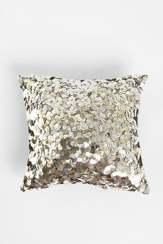 A pretty, sequined pillow in silver at Urban Outfitters My New Room, My Room, Dorm Room, Sparkly Pillows, Urban Outfitters, Sequin Pillow, Sequin Cushion, Sequin Cake, Sequin Fabric