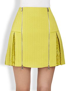 Rebecca Taylor Zip-Front Lace-Paneled Textured Skirt
