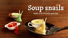 Snail, Polymer Clay, Soup, Pudding, Tableware, Desserts, Crafts, Dollhouses, Clever