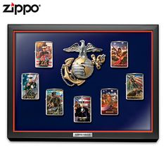 USMC Zippo lighters feature the stirring patriotic art of Jim Griffin. Shop Now! Wooden Display Cases, Table Top Display, Wood Display, Usmc, Marines, Zippo Collection, Collectible Knives, Semper Fidelis, Randal