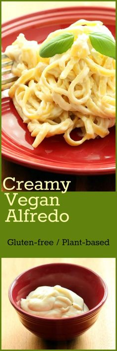 Nutritionicity Recipe: Creamy Vegan Alfredo (Gluten-Free, Sugar-free) 5 ingredients and NO yeast flakes make this a simple and pleasing prep. Luscious, velvety texture and ultra-creamy taste combine to make an opulent, dairy-free version of this Italia Vegan Sauces, Vegan Foods, Vegan Dishes, Vegan Vegetarian, Vegetarian Recipes, Healthy Recipes, Paleo, Keto, Pasta Recipes