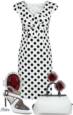 "LOVE THE ""Black and White with Rubies ..."" by mrsbro on Polyvore - maybe needs a red jacket or throw? :D"
