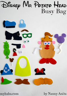 Make your own Disney Mr Potato Head Busy Bag so that you can take your Mr Potato head anywhere. Mr Potato Head, Potato Heads, Fun Crafts, Crafts For Kids, Arts And Crafts, Head Games, Busy Bags, Folder Games, File Folder