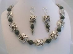 Green Jade & Silver Filigree 20 inch Necklace & Earrings Set for sale at PSP Unique Jewelry @etsy.com Leather Earrings, Boho Earrings, Gemstone Jewelry, Unique Jewelry, Silver Filigree, Jade Green, Earring Set, Beaded Bracelets, Handmade Gifts