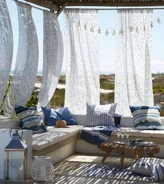 Hanging fabric that you could take down if needed could be a really breezy idea