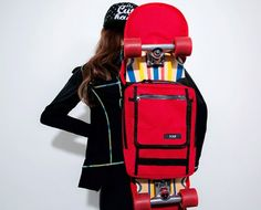 Today's Hot Pick :Skateboard Backpack - Red http://fashionstylep.com/P0000ORM/chuukr/out Bring your skateboard with you everywhere this season for a fun summer with this skateboard backpack. It wraps around the board so the bag itself is resting below it and wraps the edges. The bag has zipped pockets and black trimming for a lively appearance. -Skateboard wrap -Backpack -Zipper closure -Zipped pocket -Adjustable straps