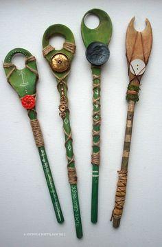 Wooden Spoon Wands for spying on faerie folk by PixieHillStudio,