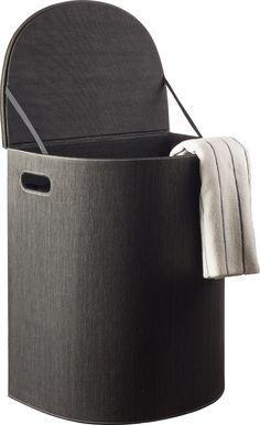Cinas Laundry Vasketøjskurv - Vasketøjskurv med kraftig låg og aftagelig pose indeni. Kurven har oval front med lige bagside, så den placeres op ad en væg. Låg og beholder beklædt med kraftig tekstil, vævet af genbrugte papirfibre.