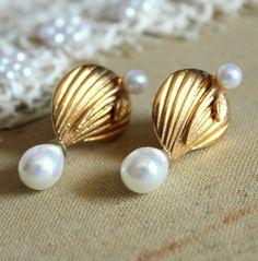Gold  pearls shell  earrings bridal jewelry  wedding by iloniti, $46.00