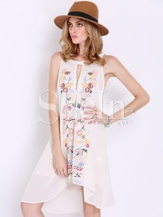 Shop Apricot Sleeveless Floral Embroidered Dress online. SheIn offers Apricot Sleeveless Floral Embroidered Dress & more to fit your fashionable needs.