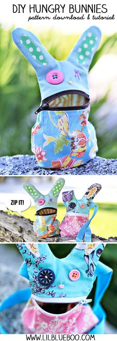 DIY Hungry Bunny Tutorial and Pattern Sorgenfresser Sewing Hacks, Sewing Tutorials, Sewing Patterns, Sewing Toys, Sewing Crafts, Costura Diy, Diy Sac, Diy Couture, Creation Couture